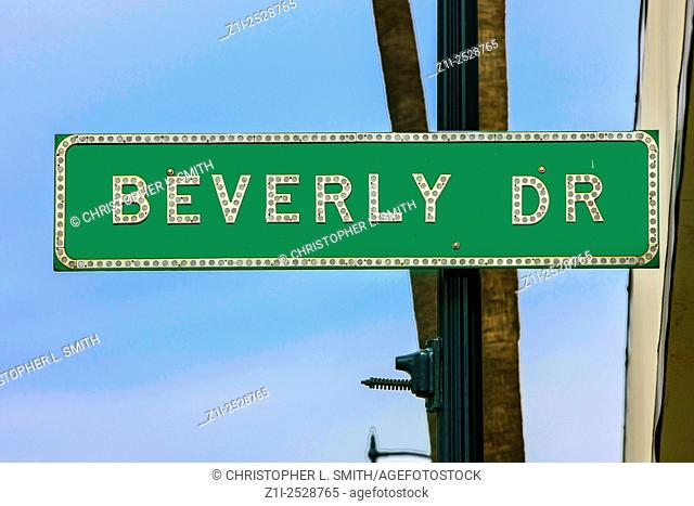 Beverly Drive green street sign in Beverly Hills California