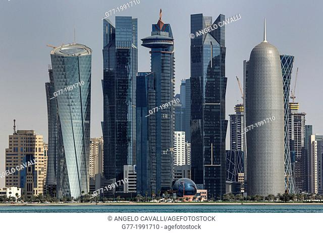 Futuristic skyscrapers in Doha skyline, Qatar