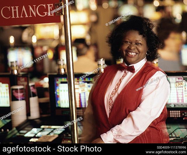 Female cashier at register