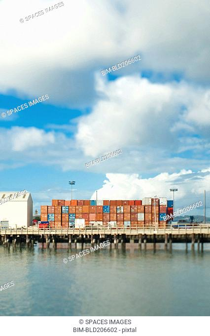 Cargo Shipping Containers on a Dock