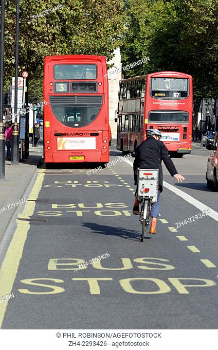 London, England, UK. Bus stop and cyclist in Whitehall