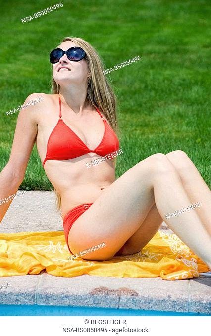 young, attractive woman at the pool