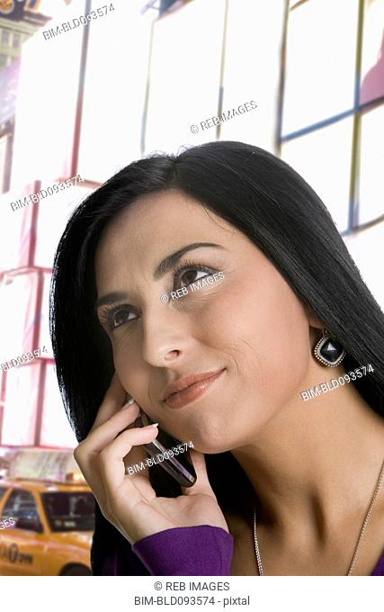 Turkish woman talking on cell phone
