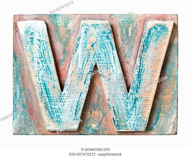 Wooden alphabet block, letter W