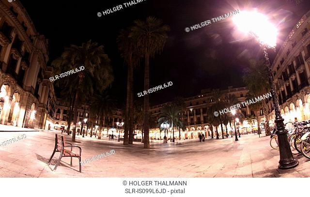 Panorama of Placa Reial at night, Barcelona, Spain
