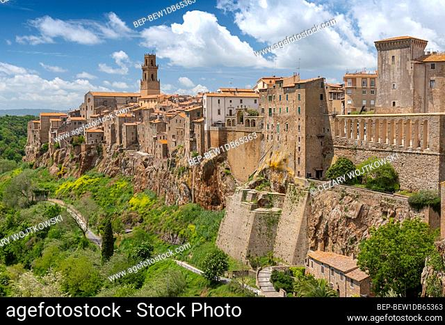 Panoramic view of the medieval town of Pitigliano in Tuscany, Italy