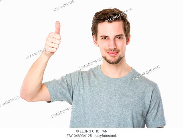Man with thumb up gesture