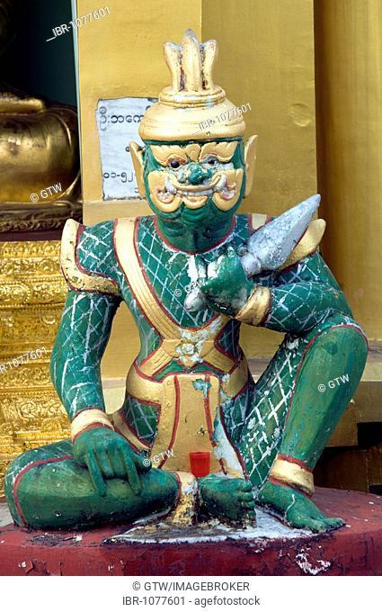 Statue, Shwedagon Pagoda, Yangon, Myanmar, Burma, Southeast Asia