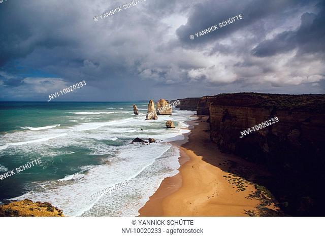 The Twelve Apostles during stormy weather, Australia