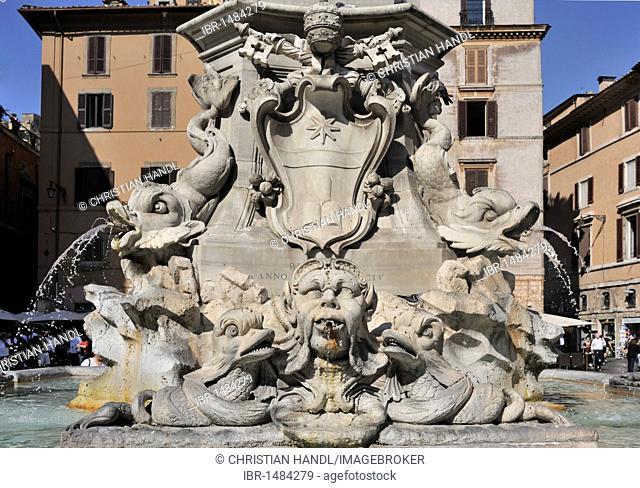 Fountain in the Piazza della Rotonda square, Rome, Lazio, Italy, Europe