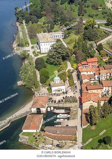 Aerial view of the villa Villa Melzi d'Eril, Bellagio, Como Lake, Lombardy, Italy, Europe