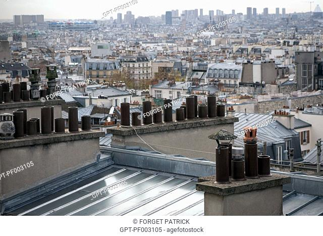 APARTMENT BUILDING CHIMNEYS ON THE ROOFS OF PARIS
