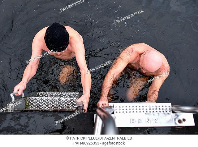 Ice bathers Helmut Langgemach (L) and Juergen Lippmann climb out of the cold, three-degree water of Grosser Muellroser See lake in Muellrose, Germany