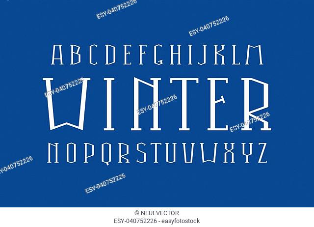 Decorative serif font. Thin line typeface. Letters for logo and title design. Isolated on blue background