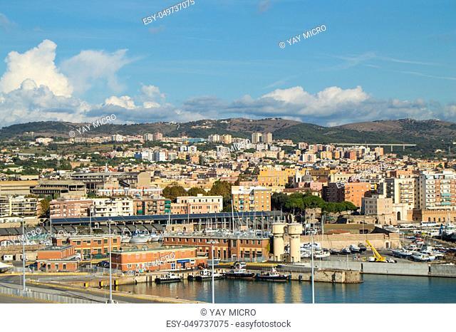 Panoramic view of Civitavecchia port, coast, port, buildings, October 7, 2018