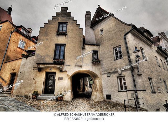 Medieval Saengerhof yard, old Spitelhof yard, Krems, Wachau Region, Lower Austria, Austria, Europe