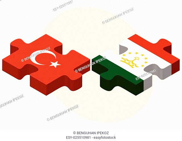 Turkey and Tajikistan Flags in puzzle isolated on white background