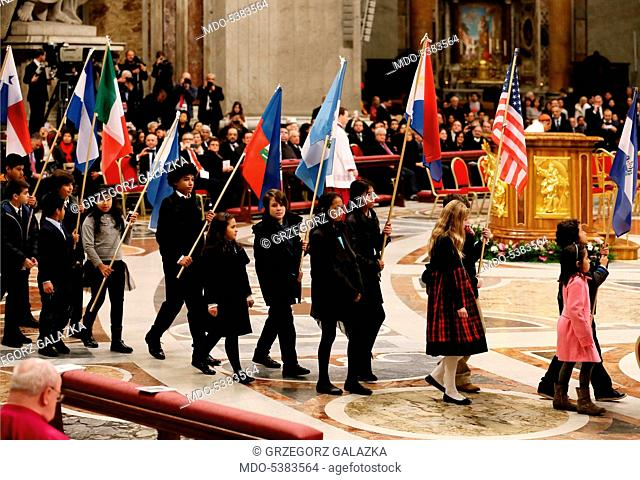 The procession of Our Lady of Guadalupe taking place before the Holy Mass celebrated by Pope Francis (Jorge Mario Bergoglio)