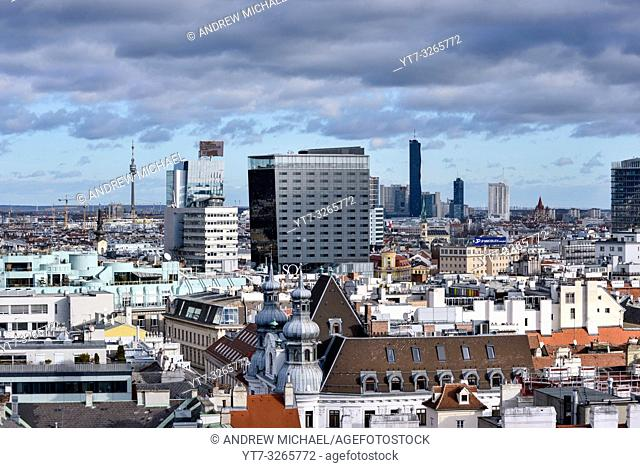 Vienna city skyline seen from the top of St. Stephens Cathedral (Stephansdom) North tower. Austria