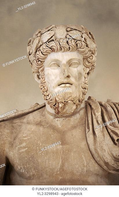 Roman sculpture of the Emperor Lucius Verus, excavated from Bulla Regia Theatre, sculpted circa 161-169 AD. The Bardo National Museum, Tunis