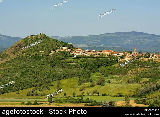 View of the village of Nonette near the town of Issoire, Puy de Dome department, Auvergne-Rhone-Alpes, France, Europe