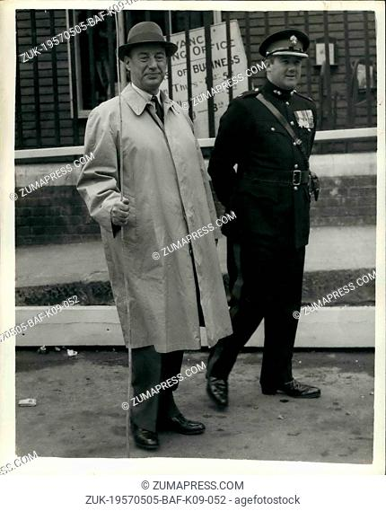 May 05, 1957 - Beating The Bounds Of The Tower Of London Mr. Adlai Stevenson Of The U.S. Takes Part: The ancient ceremony of Beating the Bounds of the Tower of...