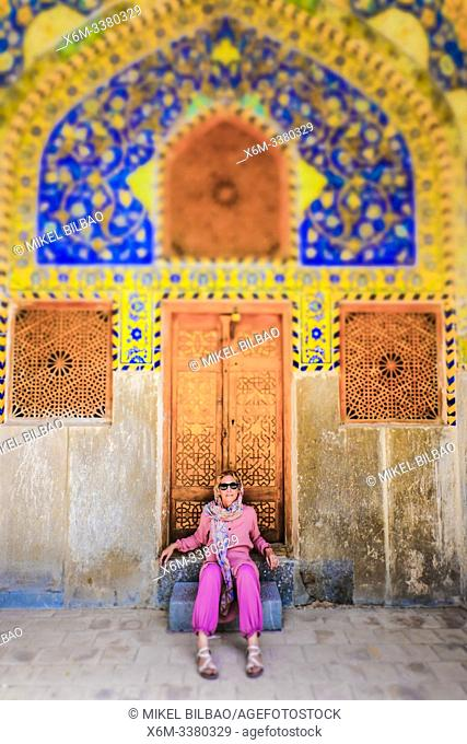 Woman in Shah Mosque. Naghsh-e Jahan Square. Isfahan, Iran. Asia