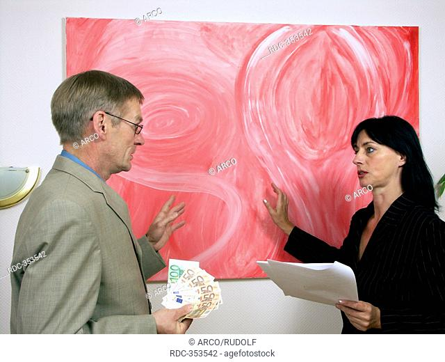 Man buying painting, acrylic paint, painter, artist, gallery owner, customer, price negotiation, negotiating the price