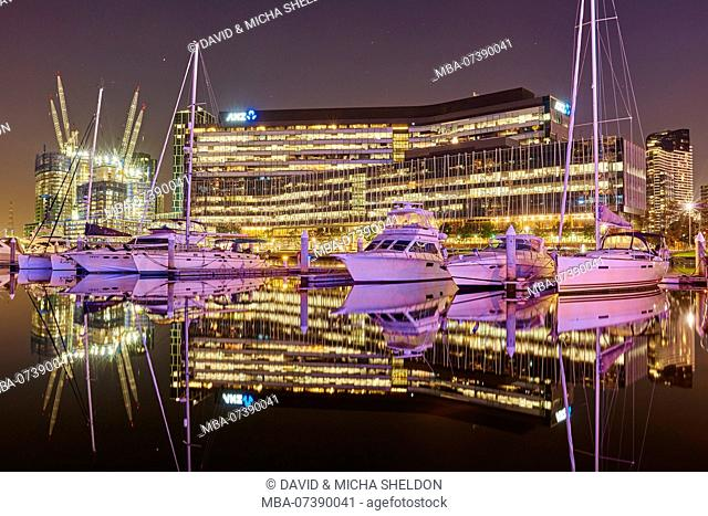 Yachts in the harbor, countryside, Docklands, waterfront, apartments, Melbourne, Victoria, Australia, Oceania