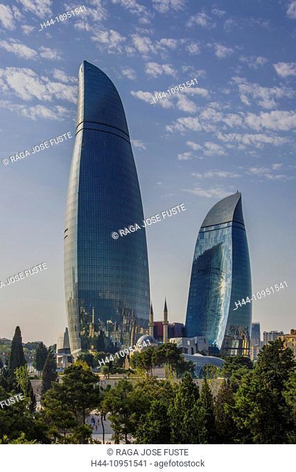 Azerbaijan, Caucasus, Eurasia, Baku, Flame, architecture, city, mosque, new, skyline, touristic, towers Shakhidlar, travel, Flame Towers