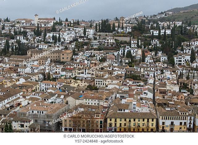 The Albaycin neighborhood seen from the Alhambra, Granada, Andalusia, Spain
