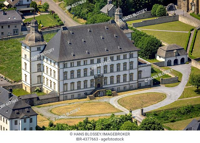 Aerial view, Deutschordensschloss, German Order Castle, Mülheim, Sauerland, North Rhine-Westphalia, Germany