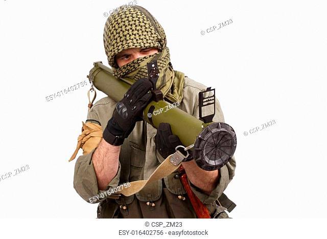 mercenary with anti-tank rocket launcher - RPG