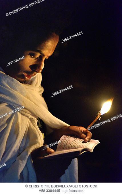 Ethiopia, Amhara region, Lalbela, Timkat festival, Night vigil on the eve of the baptism ceremony