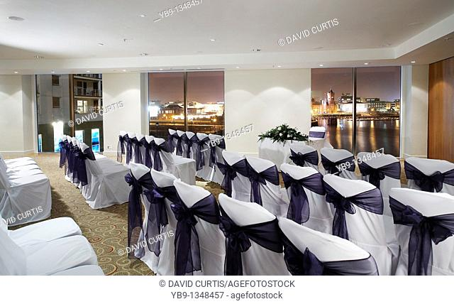 Hotel wedding ceremony room at St Davids hotel, Cardiff