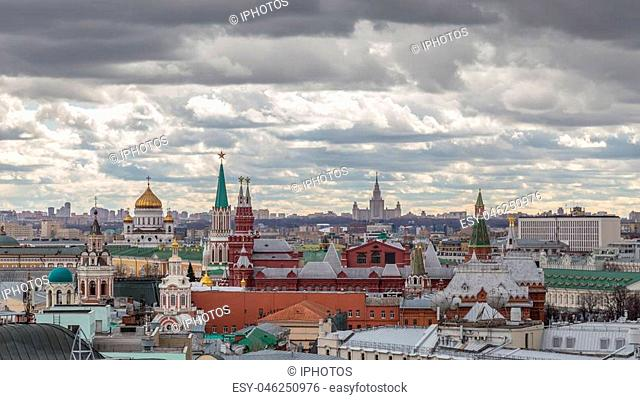 Panoramic view of Moscow with dramatic sky