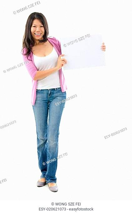 Asian woman holding placard