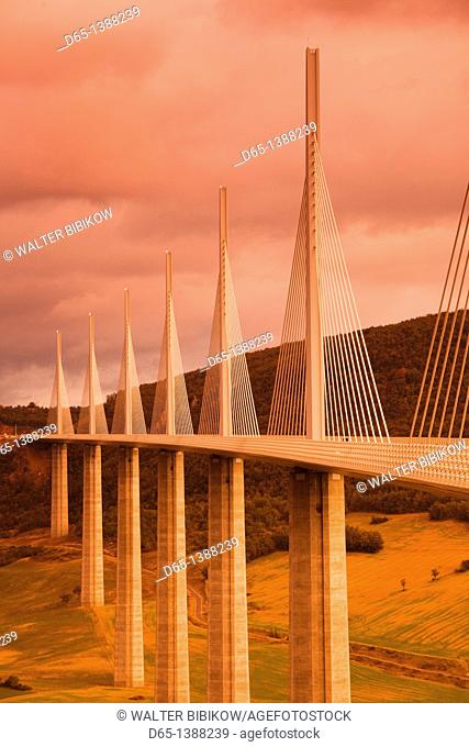 France, Midi-Pyrenees Region, Aveyron Department, Millau, Millau Viaduct Bridge, dusk