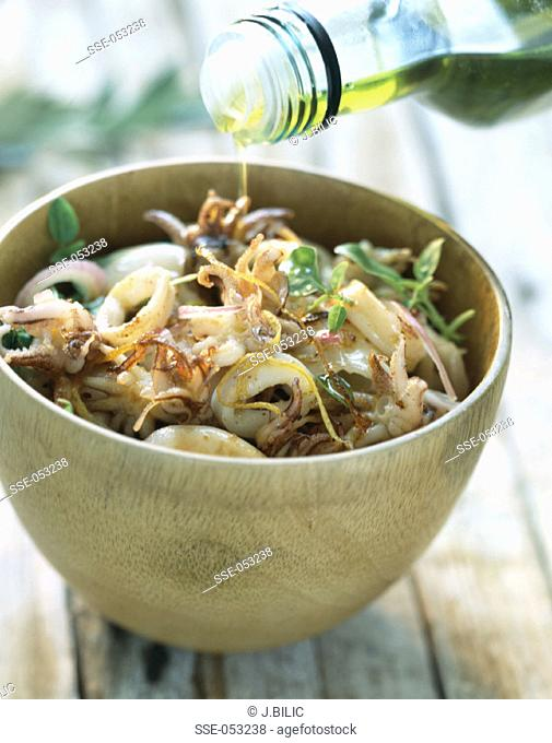 Squid and fried onion salad