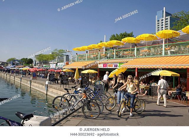 Vienna Donau Island street cafe