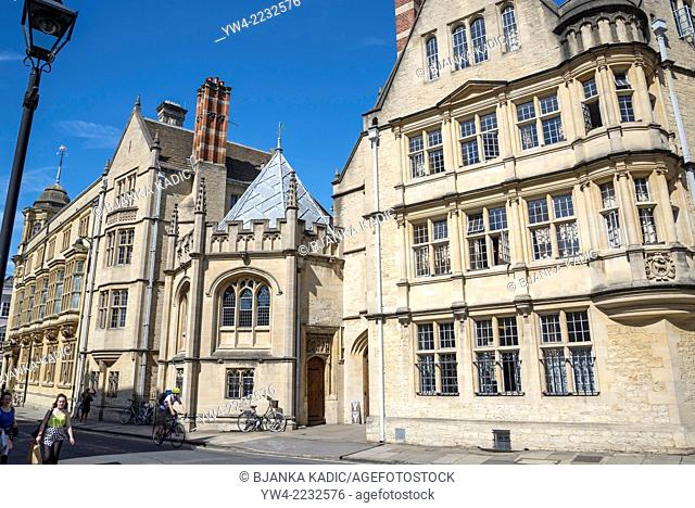Hertford College in Catte Street, Oxford, England, UK