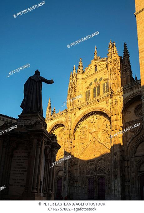 Evening light on the sandstone facade and bell tower of the New Cathedral, Salamanca, Spain