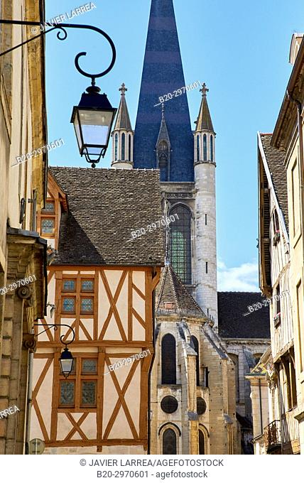 Notre-Dame church, Rue de la Chouette, Dijon, Côte d'Or, Burgundy Region, Bourgogne, France, Europe