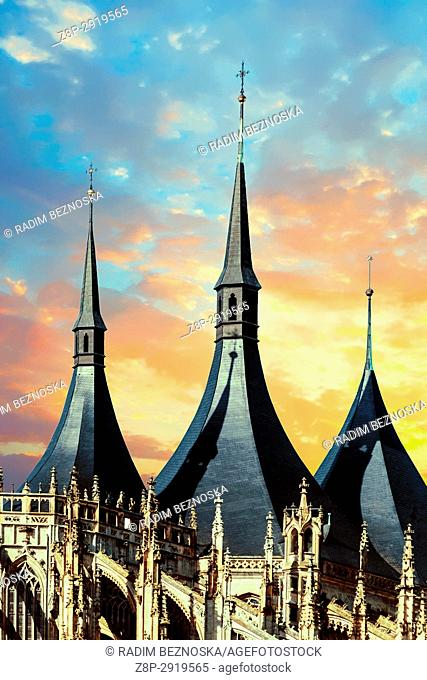 Cathedral of St Barbara in sunset, Gothic Church, UNESCO, World Heritage Site, Kutna Hora, Bohemia, Czech Republic, Europe