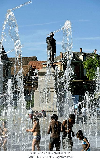 France, Haut-Rhin, Colmar, Place Rapp, fountain, children playing in water jets in summer statue of General Rapp dated 1854 by Bartholdi