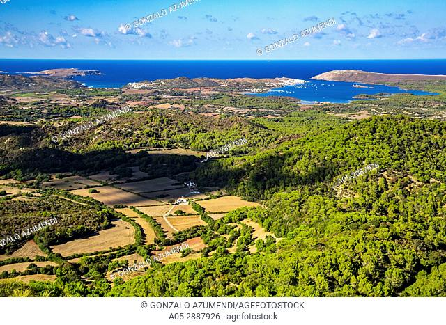 Cavalleria Cape and Fornells. View from Toro Mount. Es Mercadal Municipality. Minorca Island. Balearic Islands. Spain