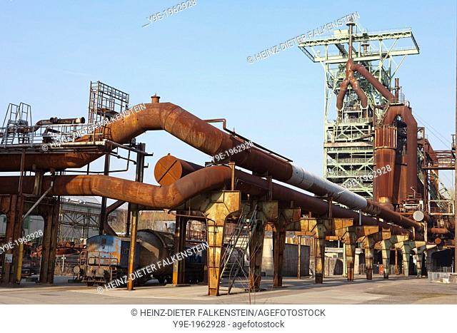 Old industrial plants and a blast furnace, disused Henrichshuette steel works, now an industrial heritage museum, Hattingen, North Rhine-Westphalia, Germany