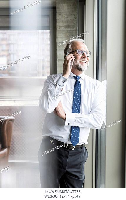 Happy mature businessman standing at the window talking on cell phone