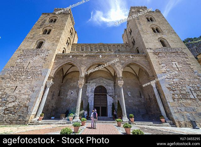Front view of Basilica Cathedral of Transfiguration in Cefalu city and comune located on the Tyrrhenian coast of Sicily, Italy