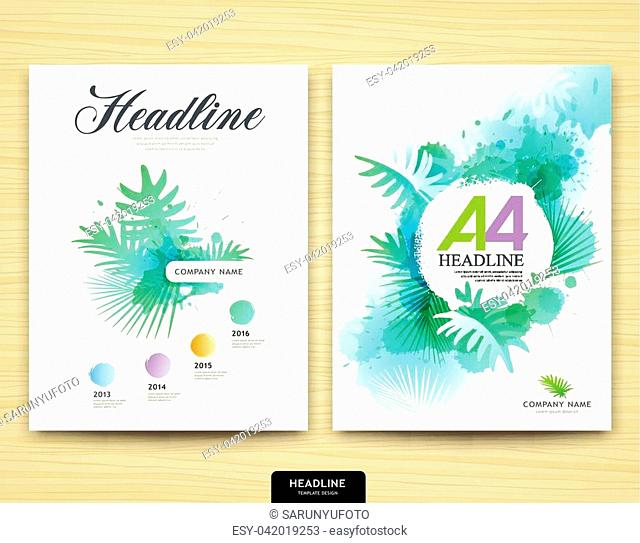 Cover design annual report, leaf tree nature design, Brochure template layout design background, vector illustration